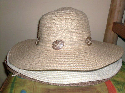 Oval Shell Beaded Natural 2-tone Floppy Wide Brim Woven Straw Summer Sun HAT