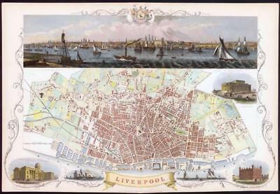 "1851 RARE LARGE ORIGINAL ANTIQUE City Map of ""LIVERPOOL"" by Tallis & Rapkin"