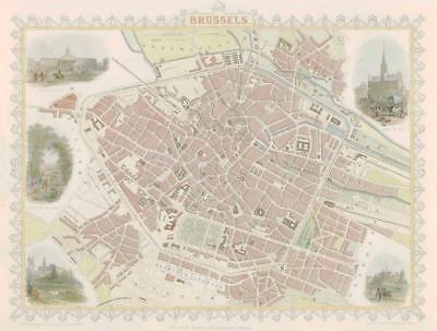 "1851 ORIGINAL ANTIQUE City Map of "" BRUSSELS "" BELGIUM by Tallis & Rapkin"