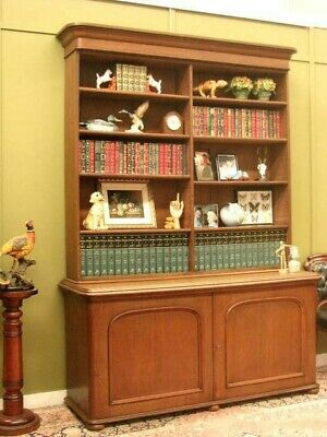 ANTIQUE OAK 2 HEIGHT OPEN BOOKCASE DISPLAY CABINET ~ USE AS SHOP FITTING  c1890s