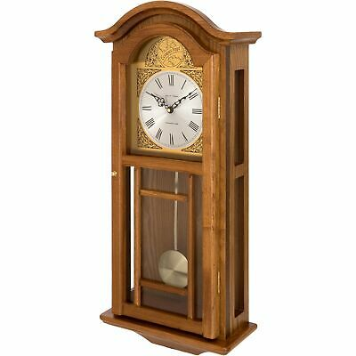 Fox And Simpson Oak Coloured Pendulum Wall Clock With Westminster Chimes