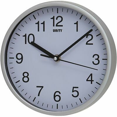 UNITY RADCLIFFE SILENT SWEEP SECONDS HAND WALL CLOCK IN SILVER 20cm