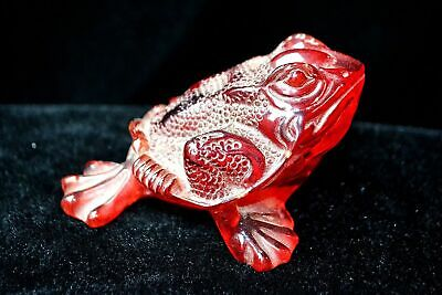 Chinese Rare Old Lifelike Red Fortune Toad Collectible Handwork Antique Statue