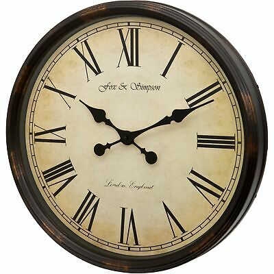 Fox And Simpson Large 50Cm Grand Central Station Wall Clock In Black