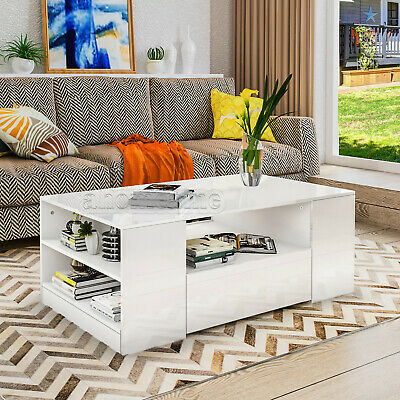 White High Gloss Coffee Table with Storage Drawers Modern Living Room Furniture