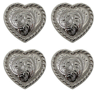 "4 Concho Horse Saddle Western Bridle Tack Bright Silver Heart Rope 1"" CO231"