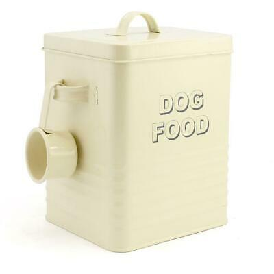 Dog Food Storage Tin Container In Cream With Scoop