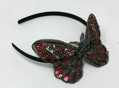 Red Butterfly Head Alice Band On A Satin Band For Festival Wedding Races Prom