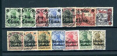 German Colonies  China and Morocco   13 Stamps     (J077)