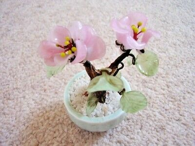 Chinese glass bonsai flower tree ornament