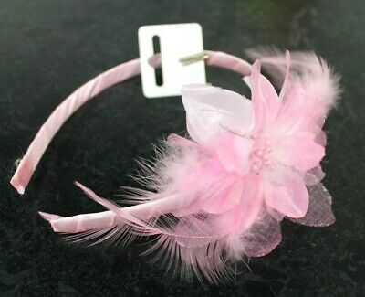 Baby Pink Head Alice Band On A Satin Band For Festival Wedding Races Prom