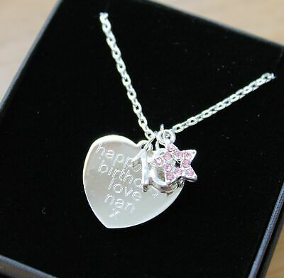 ENGRAVED Necklace Star Pendant Personalised Birthday Gifts 16th 18th 21st 40th