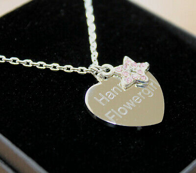 Womens Girls Necklace Pendant Free Engraving Pink Star Personalised Gifts Boxed