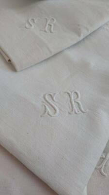 Beautiful Antique French Pure Linen Monogrammed Cushion Panel C1890 Sr