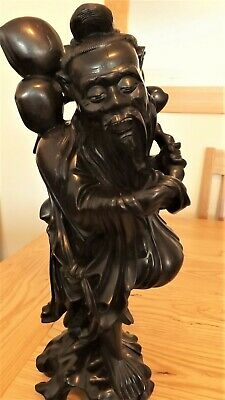 """TALL 15"""" (38 cm) HEAVY ANTIQUE CHINESE WISE MAN/ SAGE~CARVED FROM HARDWOOD ROOT"""