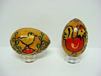 2 Easter Eggs W Wooden Stands Hand Blown Hand Decorated
