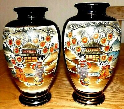 ANTIQUE JAPANESE MIRRORED SATSUMA VASES EARLY 20th C WITH MORIAGE DECORATION