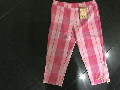 NWT Juicy Couture New & Gen. Girls Age 8 Pink Checked Cotton Crop Leg Leggings