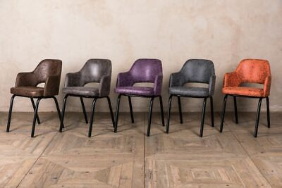 Faux Suede Dining Chairs Five Colours Retro Style Restaurant Chairs