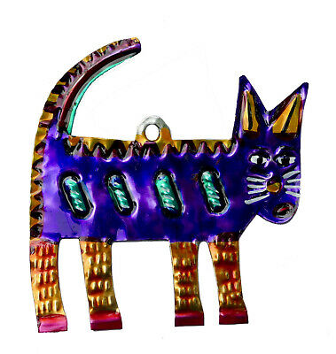 """Cat Ornament, Hand-Punched Tin, Metal, 3.25"""", Gato, Colorful Mexican Folk Art"""