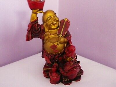 Fab Vintage Chinese Resin Buddha Figure Stood On Toad & Money Bag 14.5 Cms Tall