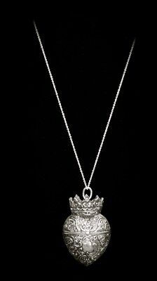WOW! RARE! Antique VICTORIAN SILVER 1800s CROWNED HEART LOCKET Pendant Necklace