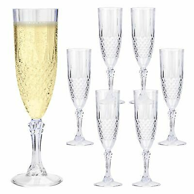 6 Pack Crystal Effect Champagne Glasses Camping Wedding Garden BBQ Party Drinks