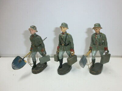 Convolute 3 Old Hausser Elastolin Ground Soldiers Pioneers Sprengkommando to 7cm