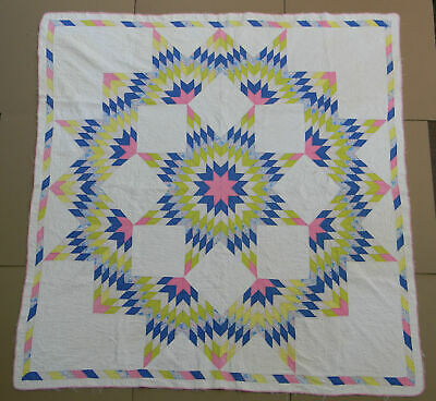 Vintage Lone Star Burst Quilt Hand Pieced Hand Quilted Feedsack, 72X74, Vibrant!