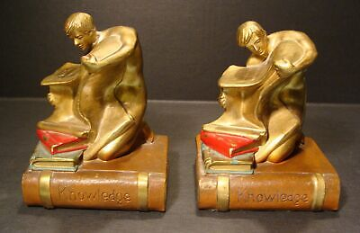 Antique Art Deco Polychrome Bronze Pair Of Book Of Knowledge Bookends**Wow!!