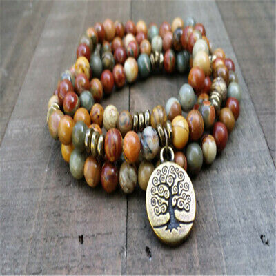 8mm Picasso Stone 108 beads Bracelet energy natural Wristband chain mala Veins