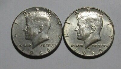 1966 & 1968 D Kennedy Half Dollar - AU+ Condition - 106FR