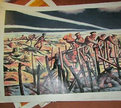 Large WW1 Oil Painting  British Troops Charging
