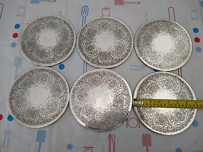 """6 RARE ANTIQUE epca Silver Plated heavy 7"""" PLATE  Coasters MADE IN ENGLAND"""