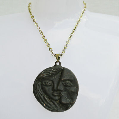 Ancient Roman Style  Bronze Coin lovers necklace Picasso Taste