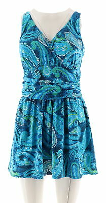 Denim Co Beach Ruched Flounce Swim Dress Pink Floral 26W NEW A288836