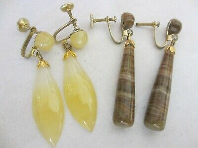 2 Pair Of Victorian Antique Agate Earrings