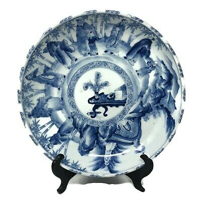 """Japanese Plate 14"""" Hand-painted Chinese Theme Appraised Mid 1800's Antique"""