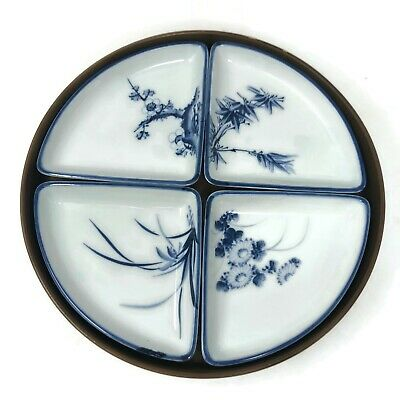 Asian Appetizer Wood Tray Four Hand Painted Dishes Bamboo Plum Design 1950's Vtg