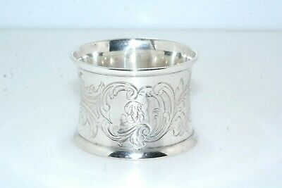 Antique English Hallmarked J E Floral Sterling Silver Napkin Ring