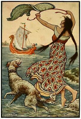 Novgorod Russia Ship 1916 Frank C Pape Fairy Tail Maiden Dog Sea 7x5 inch Print