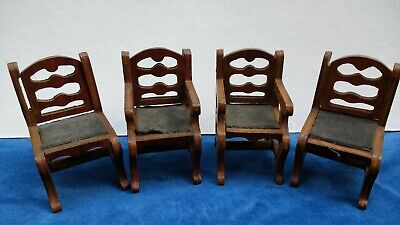 4 x Antique Vintage Dolls' House Dining Chairs