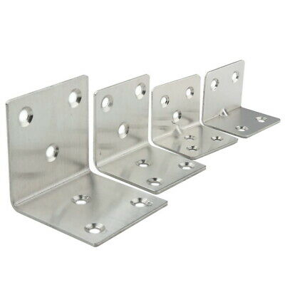 8x 4/6 Holes Stainless Steel L Shape Corner Brace Joint Right Angle Bracket Gift