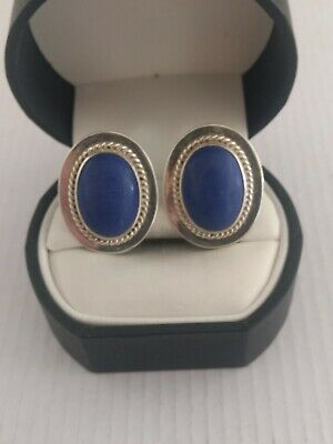 Lapis Lazuli X Large 11.5 Grams Heavy Pair Of Earrings Stamped AIS Sterling