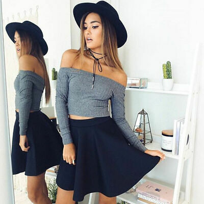 Fashion Womens Lady Tops Long Sleeve Shirt Slim Off Shoulder Knitted Blouse