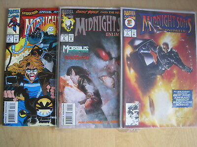 MIDNIGHT SONS UNLIMITED : ISSUES 1, 2, 3. MARVEL 1993. GHOST RIDER, MORBIUS etc