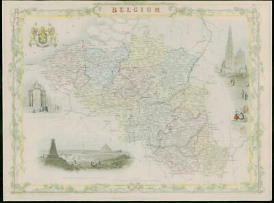 "1850 RARE Original Antique Map of ""BELGIUM""  by TALLIS FULL COLOUR (32)"
