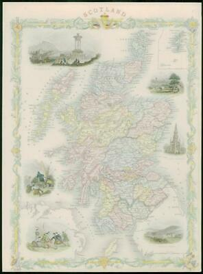 "1850 RARE Original Antique Map ""SCOTLAND""  by TALLIS FULL COLOUR (30)"