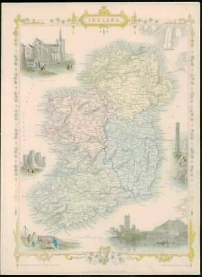 "1850 - Original Antique Map of ""IRELAND"" by TALLIS - FULL COLOUR (15)"