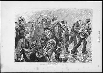1888 Antique Print - IRELAND Life Studies League Band Rain French Horn  (289)